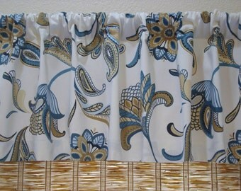 Covington Savannah Curtain Kitchen Curtain Valance Mariner Blue 52x15