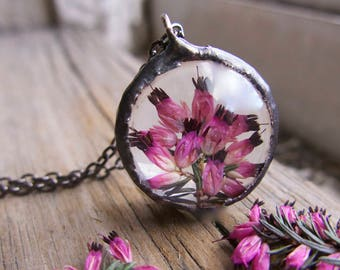 Terrarium Pink Pressed Flower Jewelry Necklace Gift Friendship Circle Teens Girlfriend Sisters Best Friends Pendant For Her Summer Trend