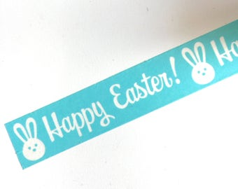 Easter BUNNY Washi Tape Roll HAPPY EASTER Spring Holiday Decoartions White Bunnies on Bright Blue planner crafts planners cards card craft