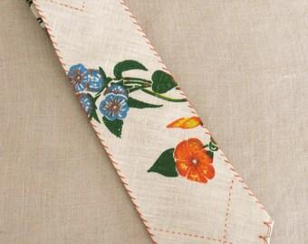 Handmade Ties, Mens Ties, Neckties, Linen, Tropical, Hand Sewn, Bespoke, Floral Ties, Orange, Flowers, Summer, Easter Tie, Fathers Day, Tie