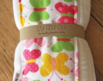 Burp Cloths in Butterflies - Set of 2 - New Baby Shower Gift