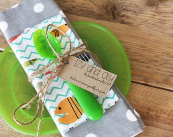 Grey with Dots Placemat and Fish Napkin Set for Kids