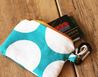 Turquoise with Dots Pouch - Change Purse - Wallet - Zipper Pouch with Carabiner
