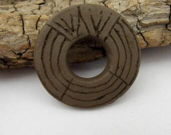 Large Black Carved Earthenware Ceramic Donut Bead
