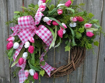 Spring wreath, Wreath, Spring, Spring Tulip Wreath, Door Wreath, Tulip Wreath, Mothers Day, Mother's Day Gift, tulips, Etsy, Horn's Handmade