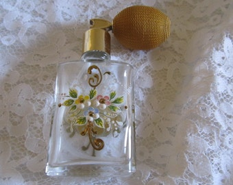 Vintage Glass Hand Painted Perfume Bottle