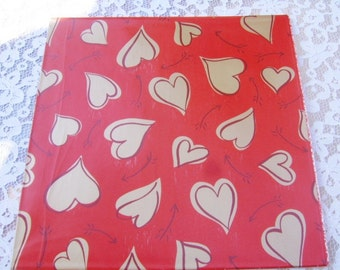 Vintage Red Gold Heart Valentine Wrapping Gift Wrap Paper