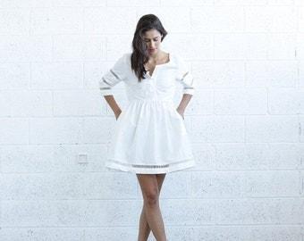 Pre Winter Sale 15% SALE 30 Percent OFF! Embroidered Trim Midi dress, White.