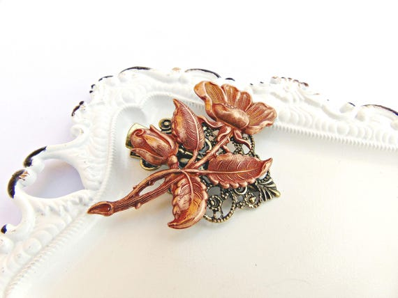 Art Nouveau Floral Hair Clip, Flower Hair clip, Rose Gold Flower, Floral Hair Barrette, Flower clip, Rose Gold Copper, Bridal Clip ANEMONE