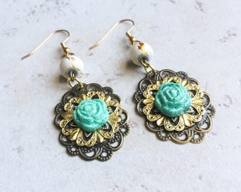 Turquoise Flower Clay Earrings, Blue Glitter Mixed Metal Earrings, Brass Gold Flower Earrings