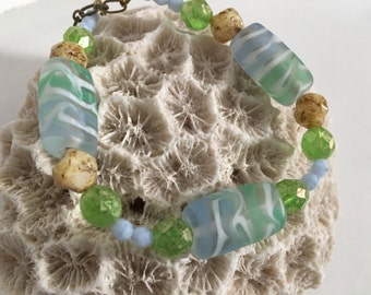 Blue and green bracelet ocean colors, handcrafted beads, sea glass texture, beach necklace, blue, green, sandy brown and cream
