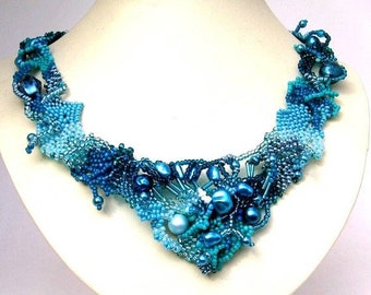SALE Blue jewelry Blue necklace, Gift for women, Statement jewelry Handmade necklace Seed bead necklace, Freeform beadwork, Beaded jewelry