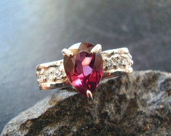 Bow - Genuine Raspberry Rhodolite Garnet & White Topaz Ring - Solid Sterling Silver Ring -NonTraditional Engagement Ring -January Birthstone