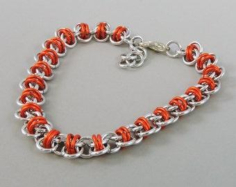 Orange Chainmaille Bracelet, Barrel Weave Chainmail Bracelet, Chain Mail Jewelry, Orange Bracelet