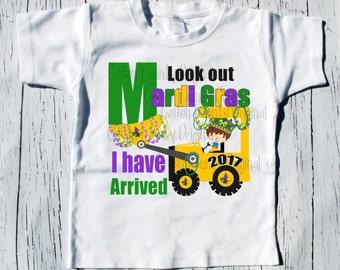 """Mari Gras tee shirt boys """"Look out Mari Gras I have arrived"""" tee shirt boys kids"""
