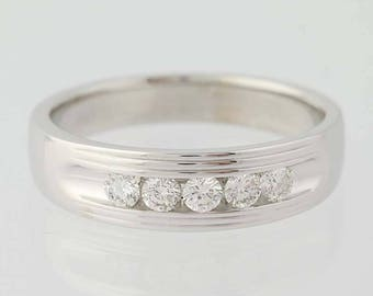 Men's Wedding Band - 14k White Gold Five-Stone Comfort Fit Ring Round .50ctw N7965