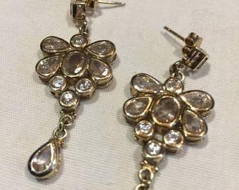 Vintage Handmade sterling silver diamond look Gemstone dramatic statement earrings