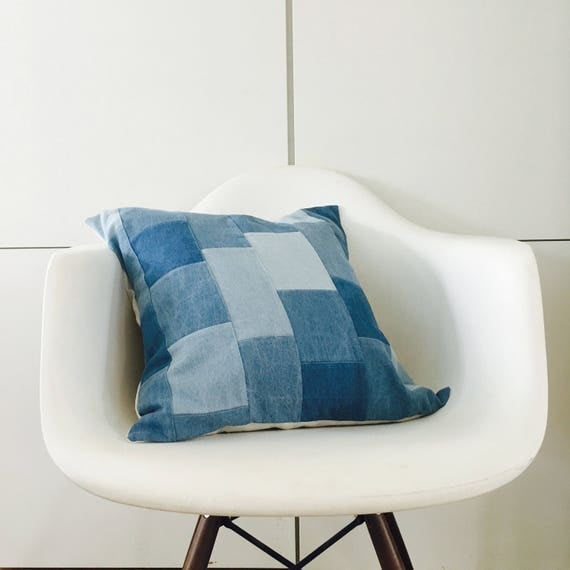 "Blue Boho Patchwork Pillow Cover 18""x18"" Square Cushion Pillow Bohemian Indigo Cotton Denim Light Blue Quilted Pillow"