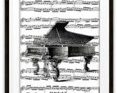 ON SALE Antique Grand Piano Illustration Music Art Print, Home & Living, Home Decor, Pianist, Gift Ideas, Piano Player, Orchestra, Band, Dor