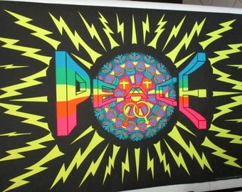 "HUGE Original ""Super Peace"" Rare Black Light Vintage Poster"