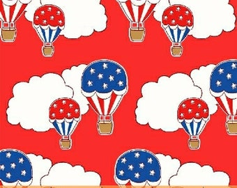 Fabric by the Yard-StoryBook Americana- Hot Air Balloon in Red-- from Windham