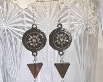 Art Deco Meets Steampunk Dangle Artistian Earrings.Obsidian & Smokey Quartz beads. Enameled VINTAGE Rhinestone Earrings Encapsulated in Clay