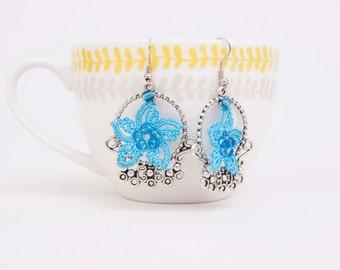 Crochet  earring , beaded crochet oya  flower earring ,aqua