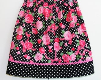 Roses and Ribbons  Valentine's  Skirt (18 mos, 2T, 3T, 4T,5, 6, 7, 8, 10)