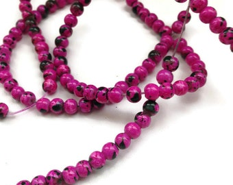 100 Fuchsia Glass Beads, 4mm Mottled Beads, Fuchsia Beads, Pink Beads, Glass Beads G 50 044