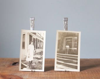 Set of 2 Repurposed Antique Vintage Fork Easels / Photo Holder / Card Holder / Recipe Menu Holder