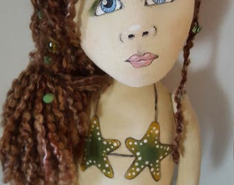 Ooak Folk Art mermaid doll