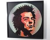 Limited Edition Sid Vicious stencil art vinyl record