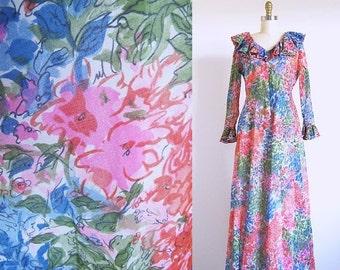 On sale Vintage 60s Maxi, Long 1960 Dress, Multi Color Flower Dress, Watercolor Dress