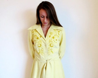 COAT SALE Vintage Couture, 60s Yellow Maxi Dress, Designer Bud Kilpatrick, Embroidered Coat Dress, Rare Vintage, Ultra Suede Coat