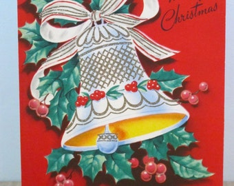 Vintage Christmas Card Glitter Bell and Holly