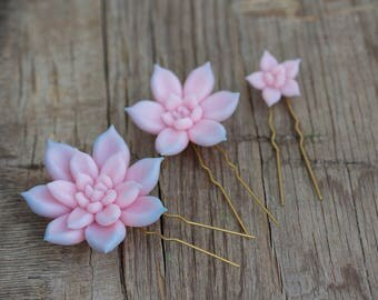 Pink Blue Succulent Hair Pins Hairpin Set Polymer Clay Bobby Pins Hair Decoration Accessory Women Handmade Decoration Wedding Bridal Hair