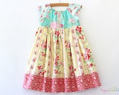 Emma Floral Dress, Spring Easter Dress, Vintage Floral Dress for Girls Sizes 12-18mo, 2T, 3/4T, 5/6, 7/8