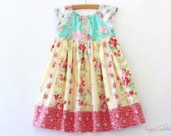Emma Floral Dress, Vintage Floral Dress for Girls Sizes 12-18mo, 2T, 3/4T, 5/6, 7/8