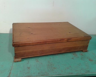 Antique  large wooden box with  lid,  wood   storage box,  Rustic deco, home decor, 19th century