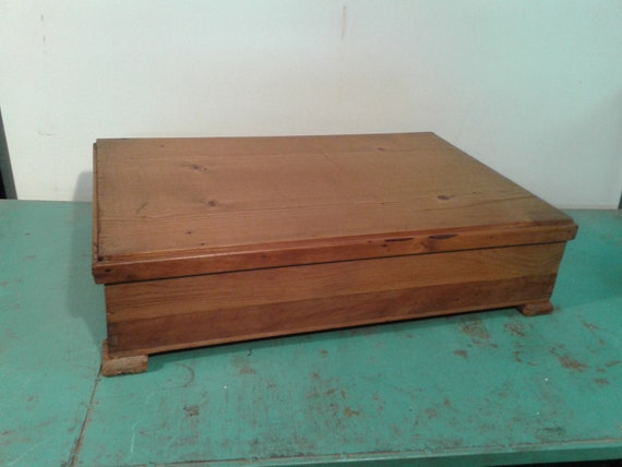 Antique large wooden box with lid wood storage box