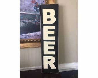 BEER Vertical Home Brewery House Shop Sign Farmhouse Plaque HP Fixer Upper Style Wood U Pick Color
