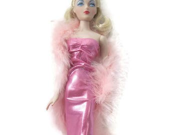 Gene Doll Pink Slinky Glamour Gown With Pink Boa