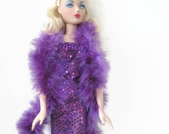 Purple Sequin Gown with Purple Boa for Gene Doll