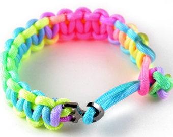 Paracord bracelet with anchor clasp. (Rainbow)
