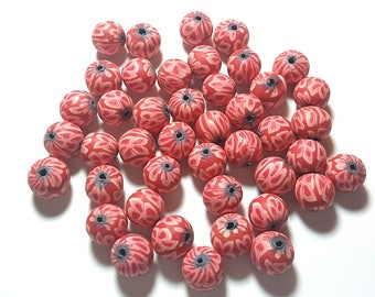 20 Fimo Polymer Clay Round Beads red  flowers beads 12mm