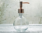 Round Hand Soap Dispensers | Small Glass Soap Dispenser | Unique Bathroom Decor | Bronze Bathroom Accessories | Copper Kitchen Decor