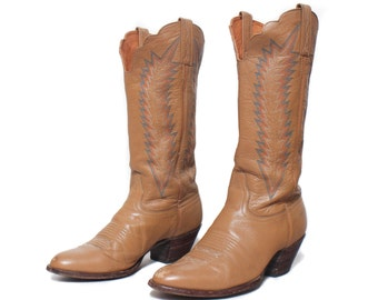 8 M | Women's Vintage Cowboy Boots Tan Leather J. Chisholm Feather Stitch Western Boot