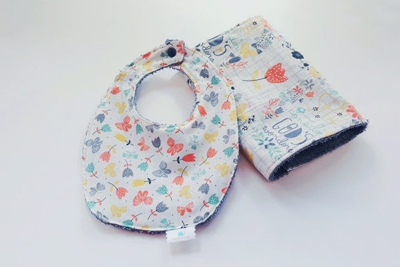 Bib and Burp Cloth Set - Organic Religious Flower Print - Baby Girl Bib