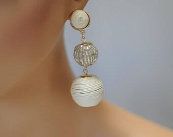 Dangle Earrings, Stacked corded ball Earrings, White and Silver Earrings, Drop Earrings, Gift for her, Long earrings, Latest Fashion