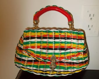 Vintage Straw Purse Multi Colors LEWIS handbag